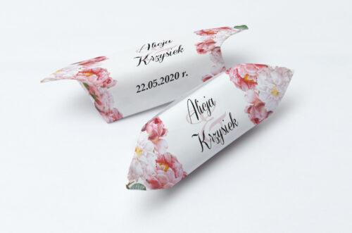 Krówki ślubne 1 kg do zaproszenia Kwiaty Vintage – wzór 5