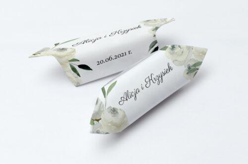 Krówki ślubne 1 kg do zaproszenia jednokartkowe - Białe kwiaty