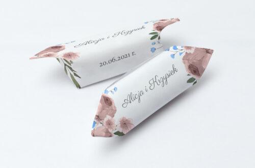Krówki ślubne 1 kg do zaproszenia jednokartkowe - Polne kwiaty