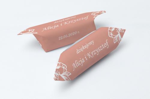 Krówki ślubne 1 kg Kwadratowe – Różany Wianuszek