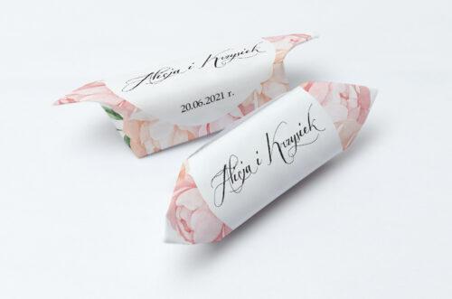 Krówki ślubne 1 kg Wianki z kokardą - Herbaciane Róże