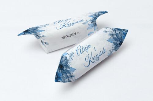Krówki ślubne 1 kg Zdjęcie&Kalendarz w folderze – Niebieski bukiet