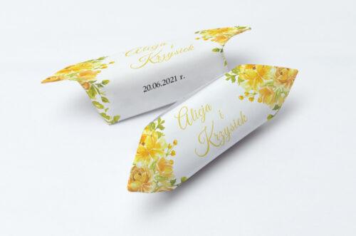 Krówki ślubne 1 kg Zdjęcie&Kalendarz w folderze – Żółte róże