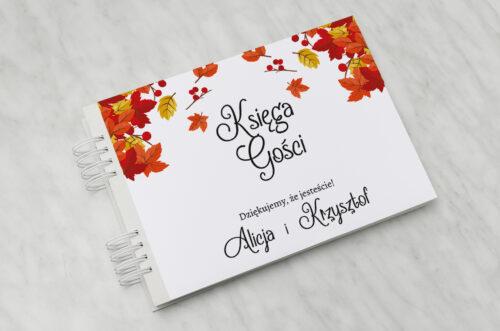 Księga gości do zaproszenia ze zdjęciem i sznurkiem – Jesienny ślub