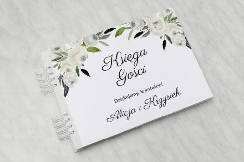 Księga gości ślubnych do zaproszenia jednokartkowe - Białe kwiaty