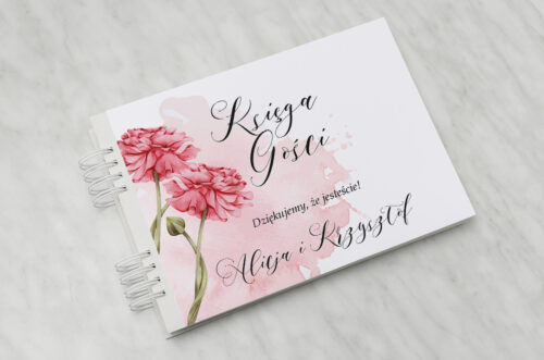 Księga gości ślubnych - Namalowane Kwiaty – wzór 1