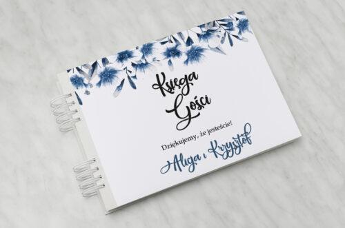 Księga gości ślubnych Zdjęcie&Kalendarz w folderze – Niebieskie kwiaty
