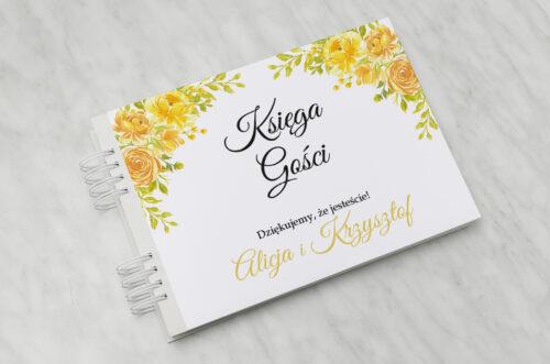 Księga gości ślubnych Zdjęcie&Kalendarz w folderze – Żółte róże