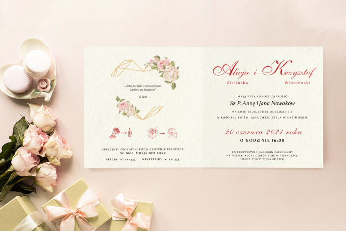 zaproszenie ślubne z anielskimi różami