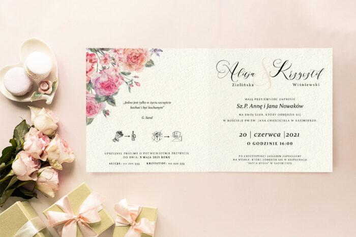 zaproszenie ślubne we wzorze angielskich róż
