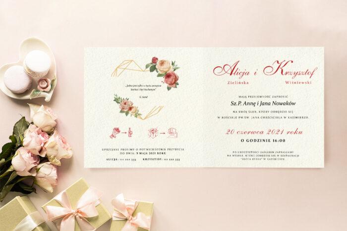 Zaproszenie ślubne - Angielskie Róże - wzór 2