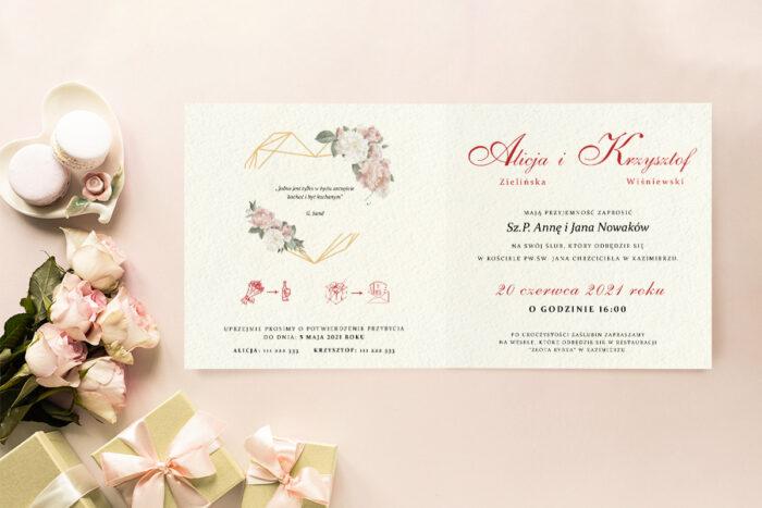 Zaproszenie ślubne - Angielskie Róże - wzór 3