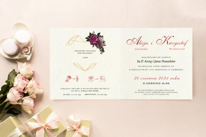 Zaproszenie ślubne - Angielskie Róże - wzór 5