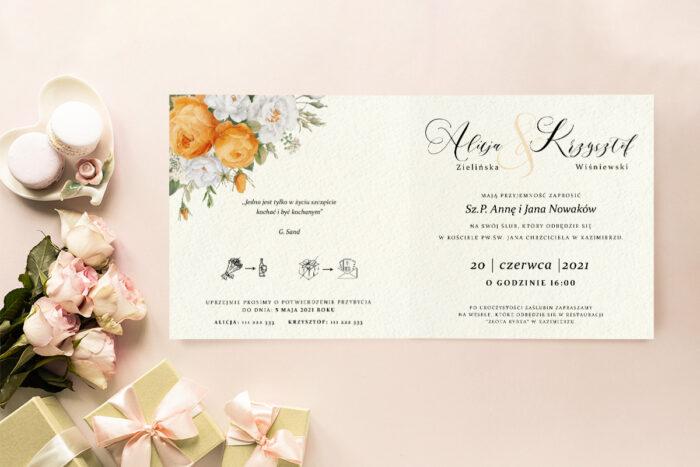 zaproszenie ślubne biało pomarańczowe kwiaty