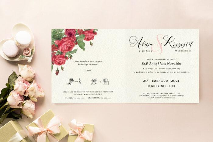 Zaproszenie ślubne - Angielskie Róże - wzór 8