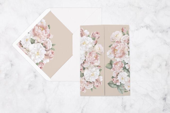 zaproszenie ślubne kwiatowe nawy z pastelowymi kwiatami