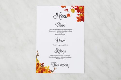 Menu weselne do zaproszenia ze zdjęciem i sznurkiem – Jesienny ślub