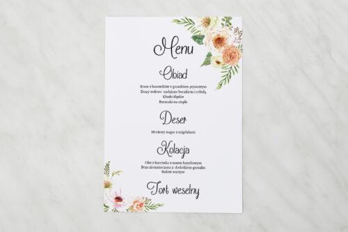 Menu weselne do zaproszenia ze zdjęciem i sznurkiem – Słoneczne Kwiaty