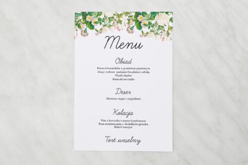 Menu weselne - Kwiaty Vintage – wzór 15