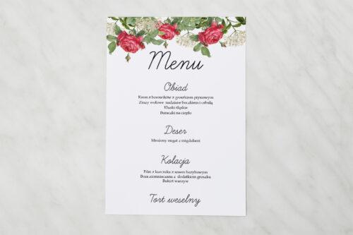 Menu weselne - Kwiaty Vintage – wzór 16