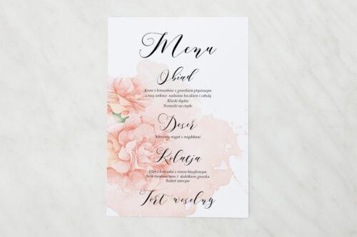 Menu weselne - Namalowane Kwiaty – wzór 7