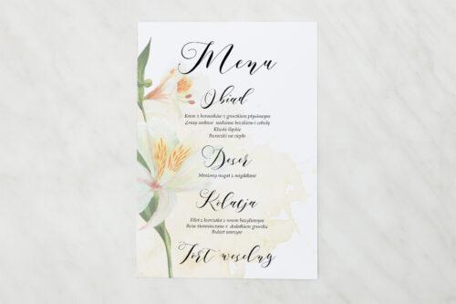 Menu weselne - Namalowane Kwiaty – wzór 24
