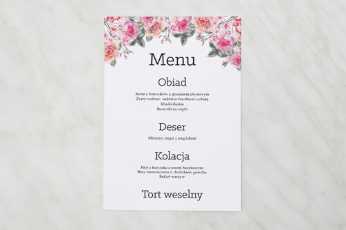 Menu weselne - Akwarelowe Bukiety – wzór 6