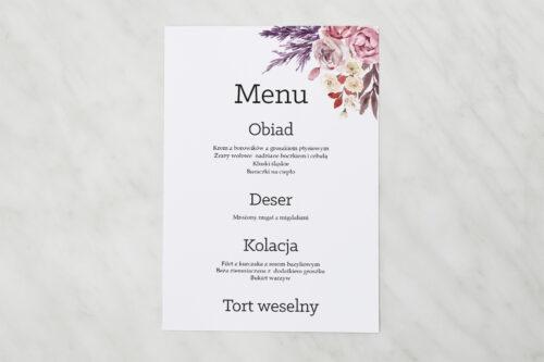 Menu weselne - Akwarelowe Bukiety – wzór 10