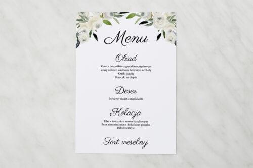 Menu weselne do zaproszenia jednokartkowe - Białe kwiaty