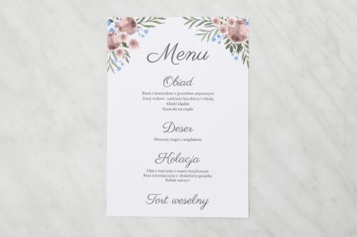 Menu weselne do zaproszenia jednokartkowe - Polne kwiaty