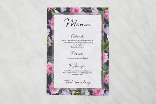 Menu weselne pasujące do zaproszenia Tło z kwiatów – wzór 10