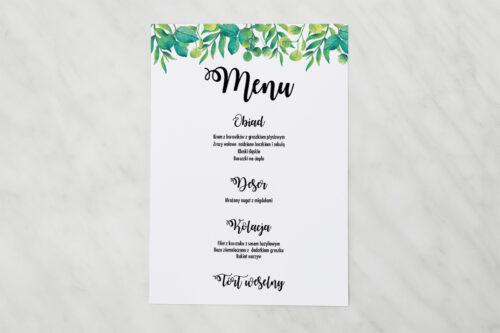 Menu weselne pasujące do zaproszenia Kwadratowe – Zielony Wianek