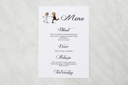 Menu weselne pasujące do zaproszeń Lolki biegnące