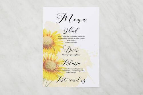 Menu weselne - Namalowane Kwiaty – wzór 16