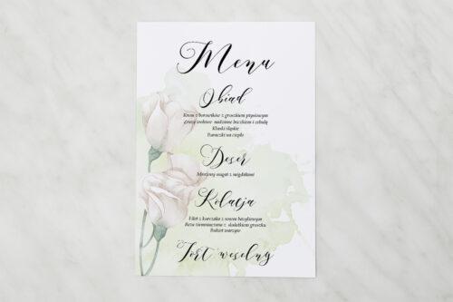 Menu weselne - Namalowane Kwiaty – wzór 2