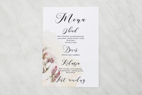 Menu weselne - Namalowane Kwiaty – wzór 22