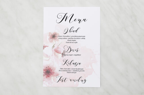 Menu weselne - Namalowane Kwiaty – wzór 6