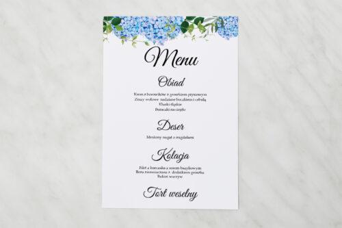 Menu weselne pasujące do zaproszenia Wianki z kokardą - Niebieskie Hortensje