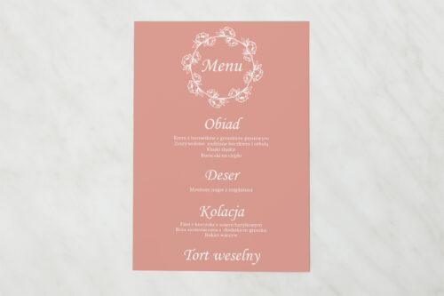Menu weselne pasujące do zaproszenia Kwadratowe – Różany Wianuszek