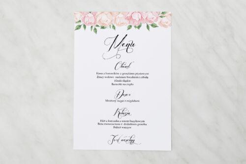 Menu weselne pasujące do zaproszenia Wianki z kokardą - Herbaciane Róże