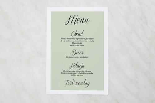 Menu weselne pasujące do zaproszenia jednokartkowe Zdjęcie & Kalendarz – Zieleń