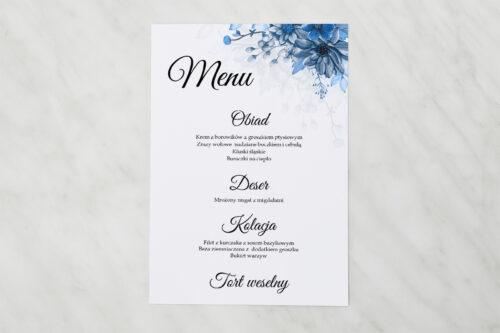 Menu weselne pasujące do zaproszenia Zdjęcie&Kalendarz w folderze – Niebieski bukiet