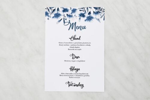 Menu weselne pasujące do zaproszenia Zdjęcie&Kalendarz w folderze – Niebieskie kwiaty
