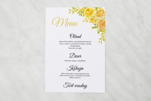 Menu weselne pasujące do zaproszenia Zdjęcie&Kalendarz w folderze – Żółte róże