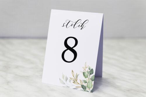 Numer stolika pasujący do zaproszeń Botaniczne – Gałązki ze złotem