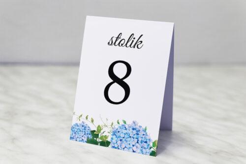 Numer stolika do zaproszenia Wianki z kokardą - Niebieskie Hortensje