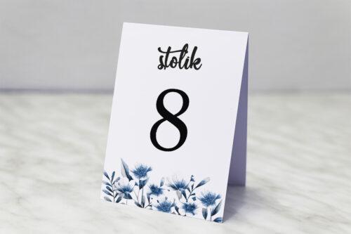 Numer stolika do zaproszenia Zdjęcie&Kalendarz w folderze – Niebieskie kwiaty