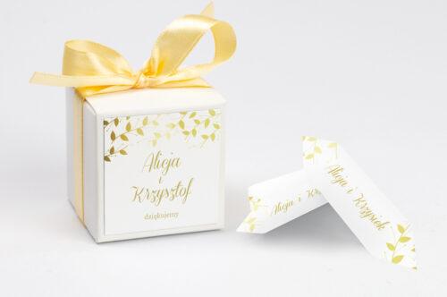 Pudełeczko z personalizacją do zaproszenia Złote Lustro – Delikatne Liście