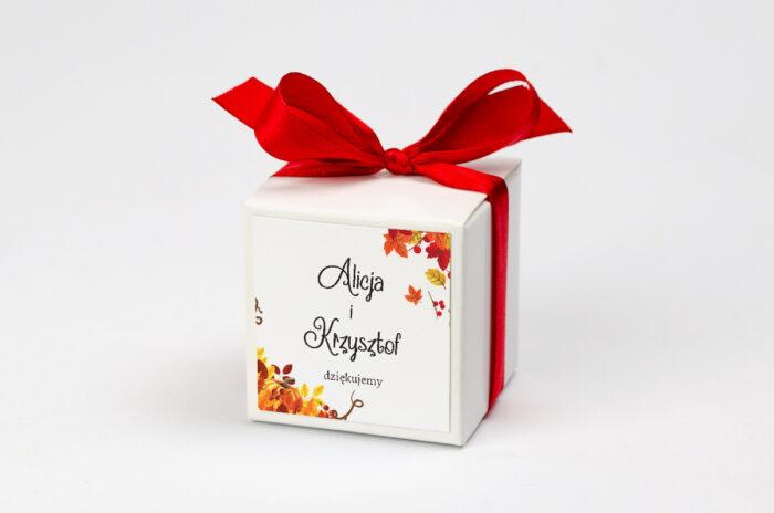 Ozdobne pudełeczko z personalizacją do zaproszenia ze zdjęciem i sznurkiem - Jesienny ślub