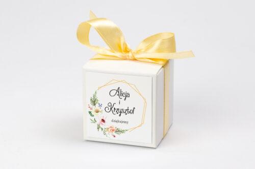 Ozdobne pudełeczko z personalizacją do zaproszenia ze zdjęciem i sznurkiem - Słoneczne Kwiaty